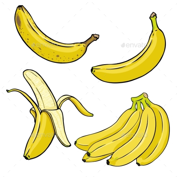 GraphicRiver Vector Set Of Cartoon Yellow Bananas 11503682