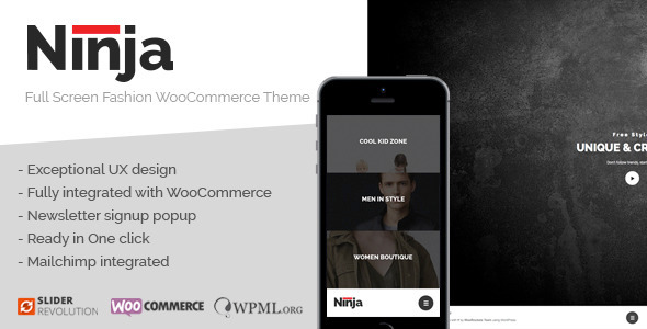 ThemeForest Ninja Full Screen Fashion WooCommerce Theme 11387909