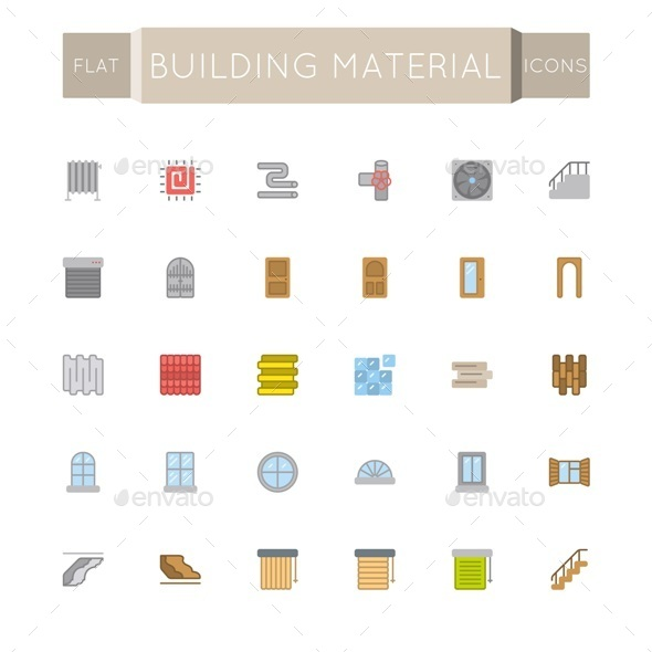 GraphicRiver Vector Flat Building Material Icons 11506682