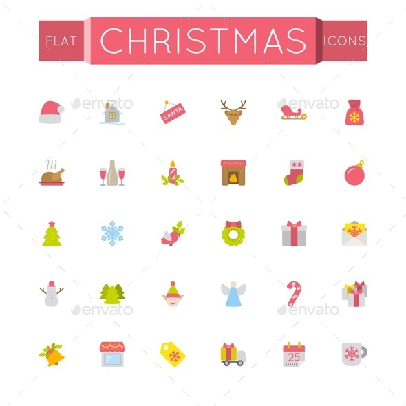 GraphicRiver Vector Flat Christmas Icons 11506700