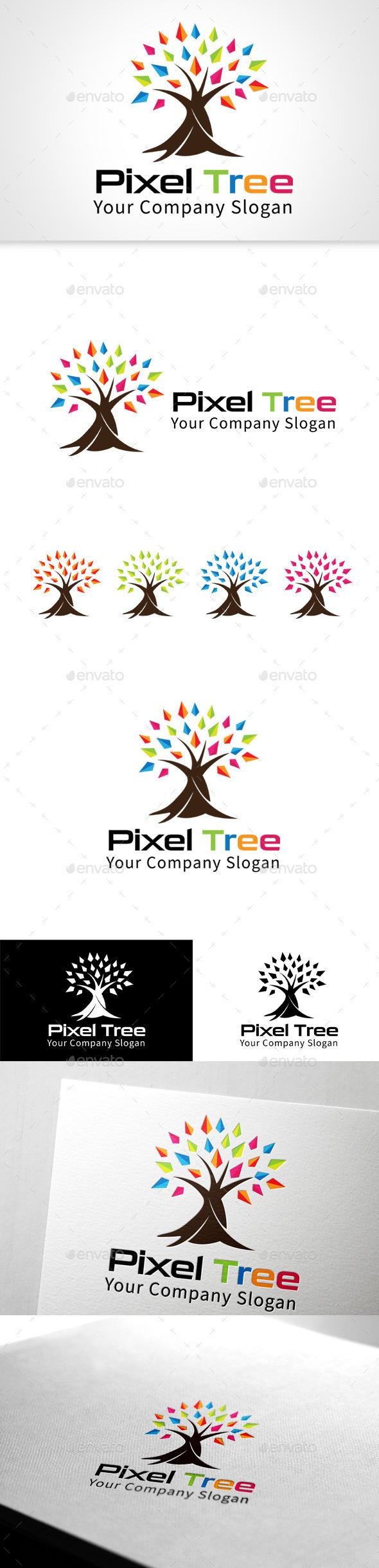 GraphicRiver Pixal Tree Logo 11506701