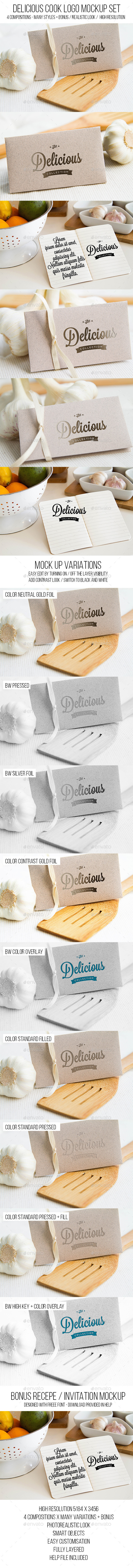GraphicRiver Delicious Cook Logo Mockup Set 11495145