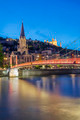View of Lyon and red footbridge - PhotoDune Item for Sale