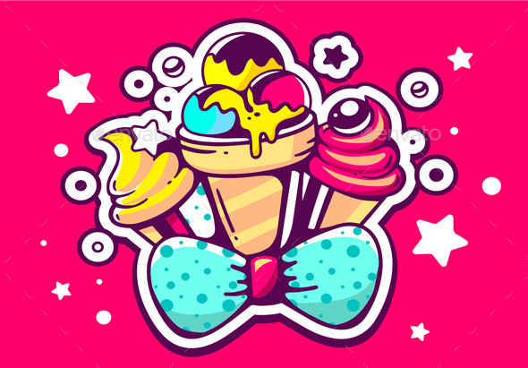 GraphicRiver Colorful Ice Creams with Blue Bow 11507167