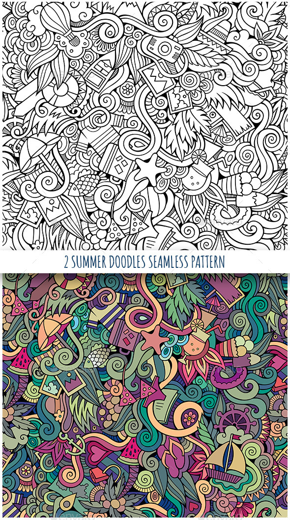 GraphicRiver 2 Summer Holidays Doodles Seamless Patterns 11507538