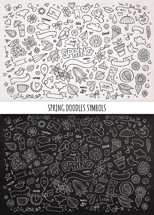 GraphicRiver Hand Drawn Spring Doodles Symbols 11507609