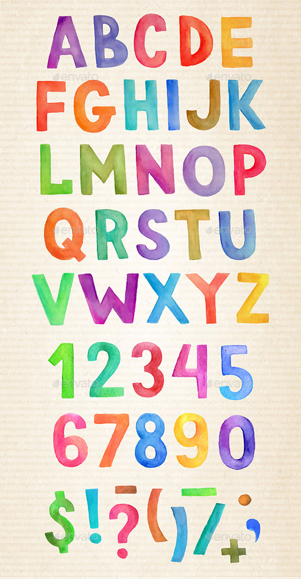 GraphicRiver Vector Watercolor Alphabet 11507630
