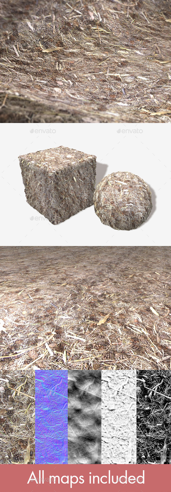 3DOcean Pine Cones and Twigs Seamless Texture 11507688
