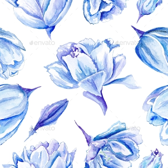 GraphicRiver Blue Watercolor Tulip Pattern 11507852