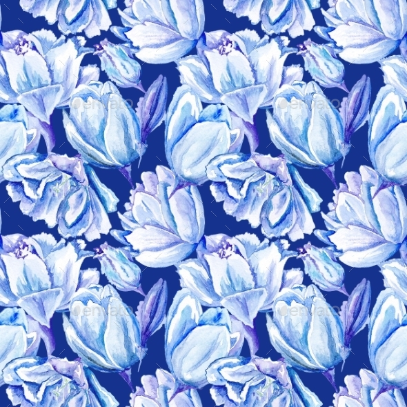 GraphicRiver Blue Watercolor Tulip Pattern 11508559