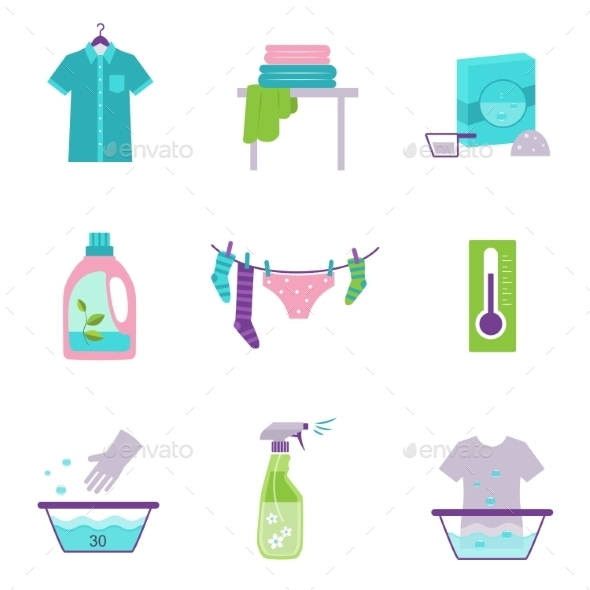 GraphicRiver Cleaning Tools Icons In Flat Color Style 11508695