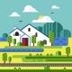 Flat Design of Farm Landscape - GraphicRiver Item for Sale