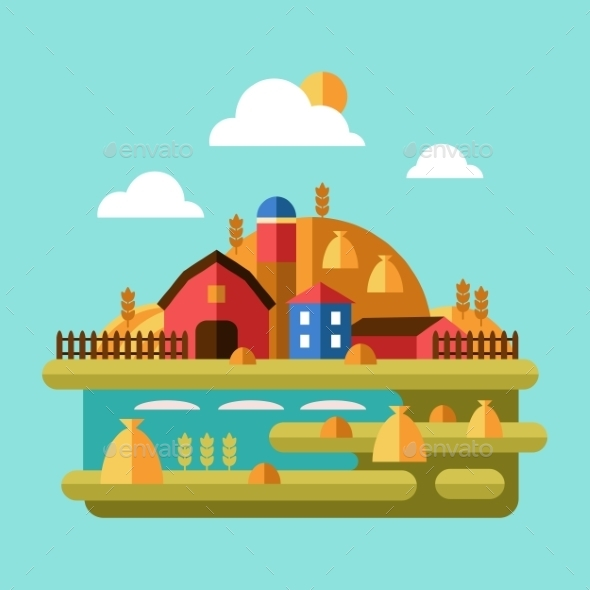 GraphicRiver Flat Design Vector Of Farm Landscape 11508711