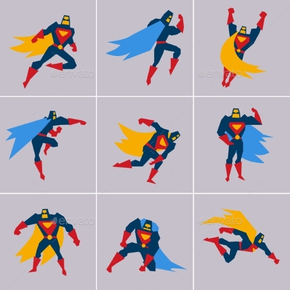 GraphicRiver Superhero In Action Silhouette Different Poses 11508762