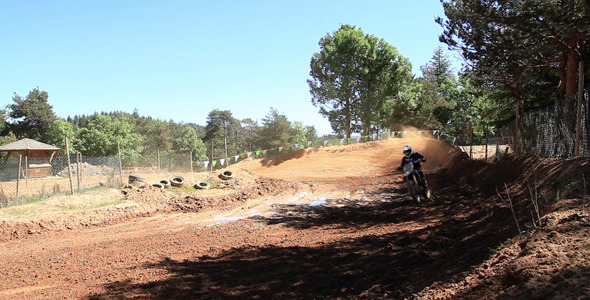 Motocross Rider At Curve