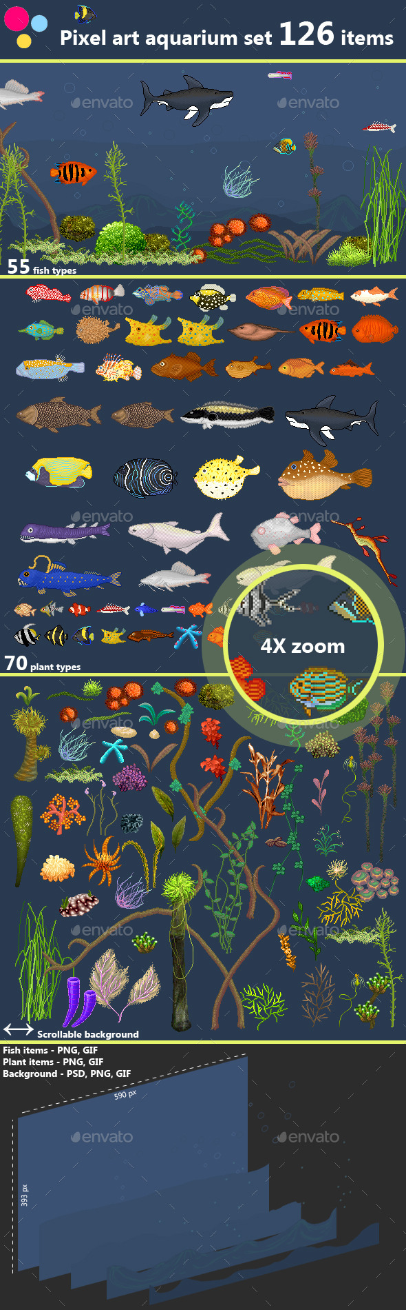 GraphicRiver Pixel Art aquarium sprite set fish and plants 11509438