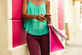 African American Girl Sending Text Messaging On Phone Shopping B - PhotoDune Item for Sale