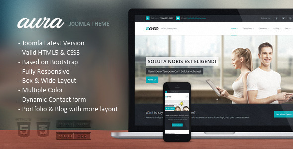 ThemeForest Aura Responsive Multipurpose Joomla Template 11509513