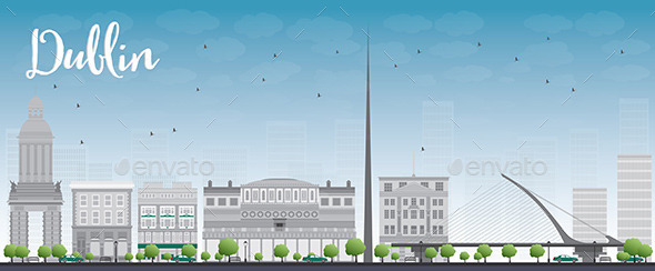 GraphicRiver Dublin Skyline with Grey Buildings and Blue Sky 11510239