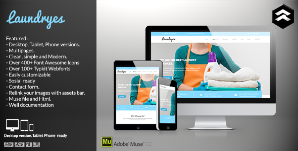 ThemeForest Laundryes Laundry Business Muse Template 11510459