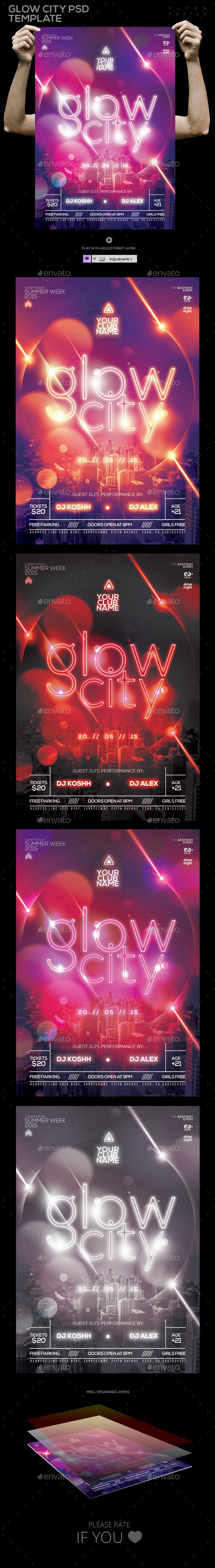 GraphicRiver Glow City PSD Flyer Poster Template 11511797
