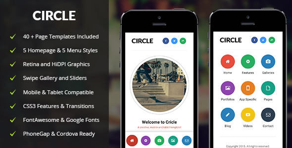 Circle | Mobile & Tablet Responsive Template (Mobile) Download