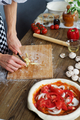 Cook cuts cheese for home made pizza - PhotoDune Item for Sale