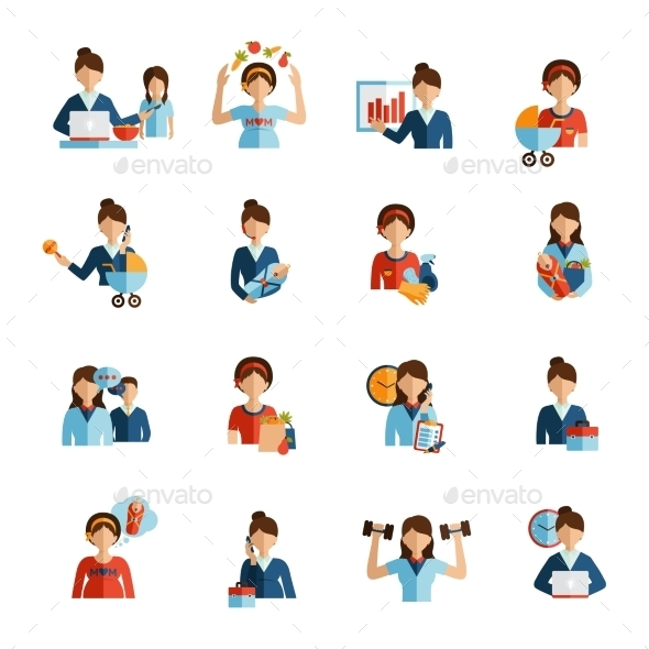 GraphicRiver Businesswoman Mother Flat Icons Set 11512296