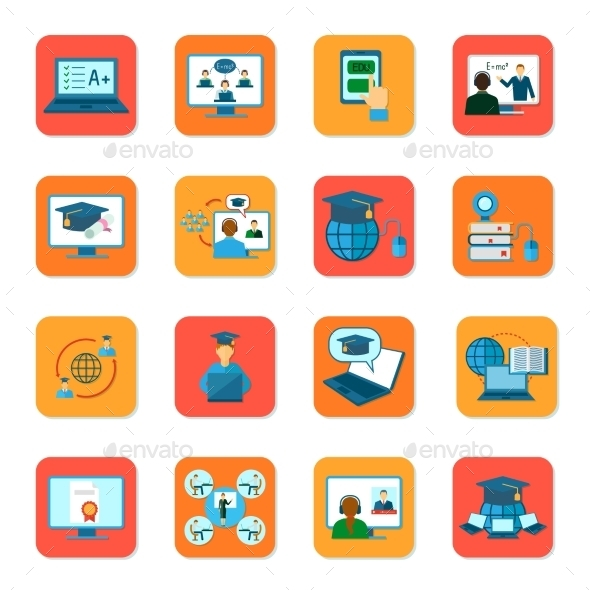 GraphicRiver Online Education Icons Set 11512582