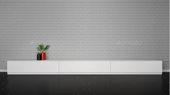 GraphicRiver Minimalistic Interior with Cupboard Table 11512598