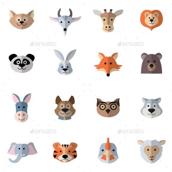 GraphicRiver Animals Heads Flat 11512600