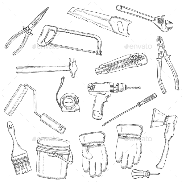 GraphicRiver House Renovation Tools Set Black Outline 11512619