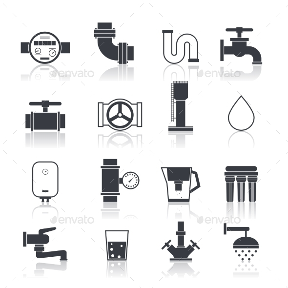 GraphicRiver Water Supply Icons Black 11512660