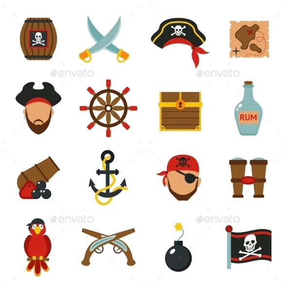 GraphicRiver Pirate Icons Set Flat 11512683