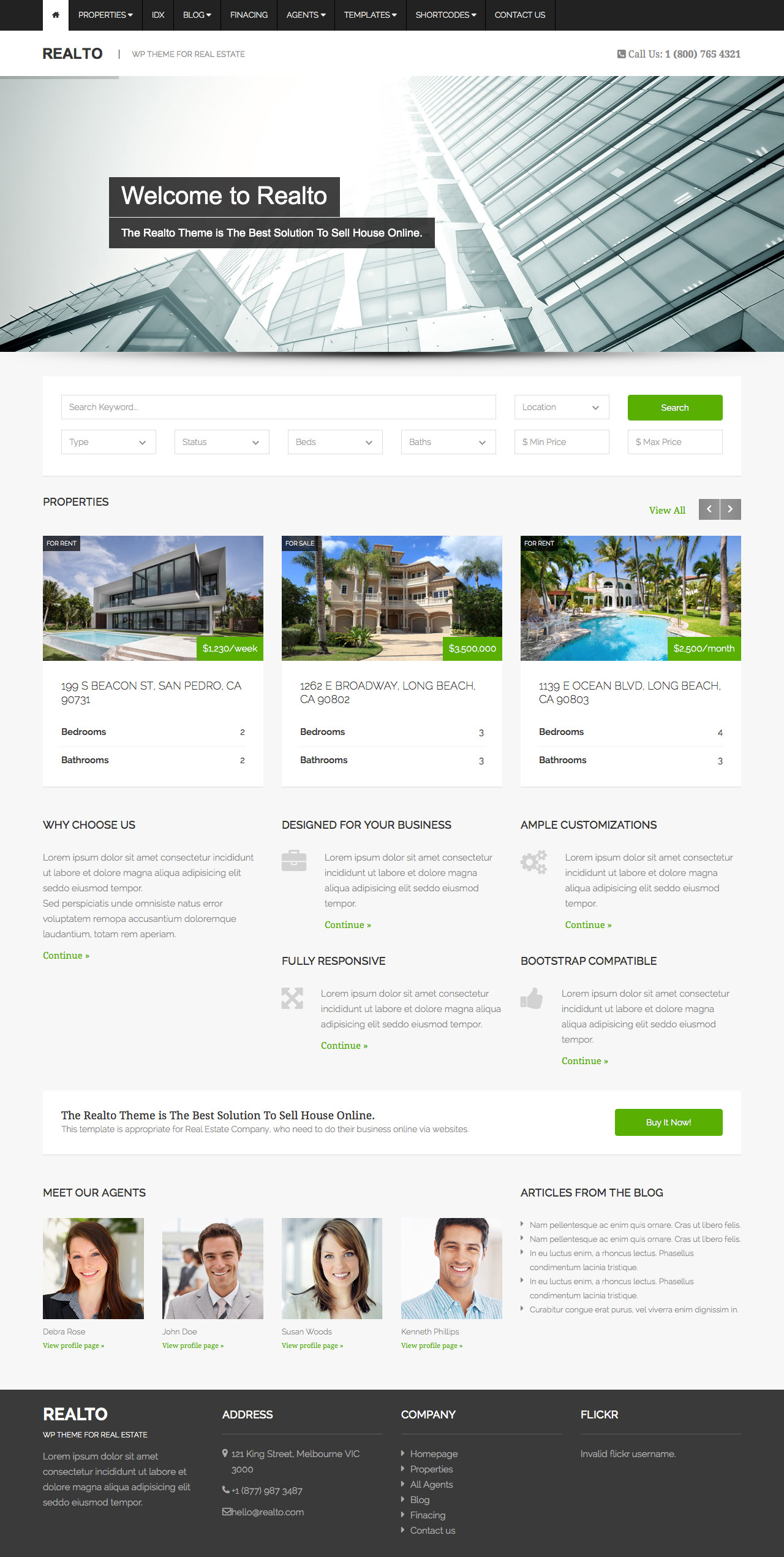 Realto - WordPress Theme for Real Estate Companies