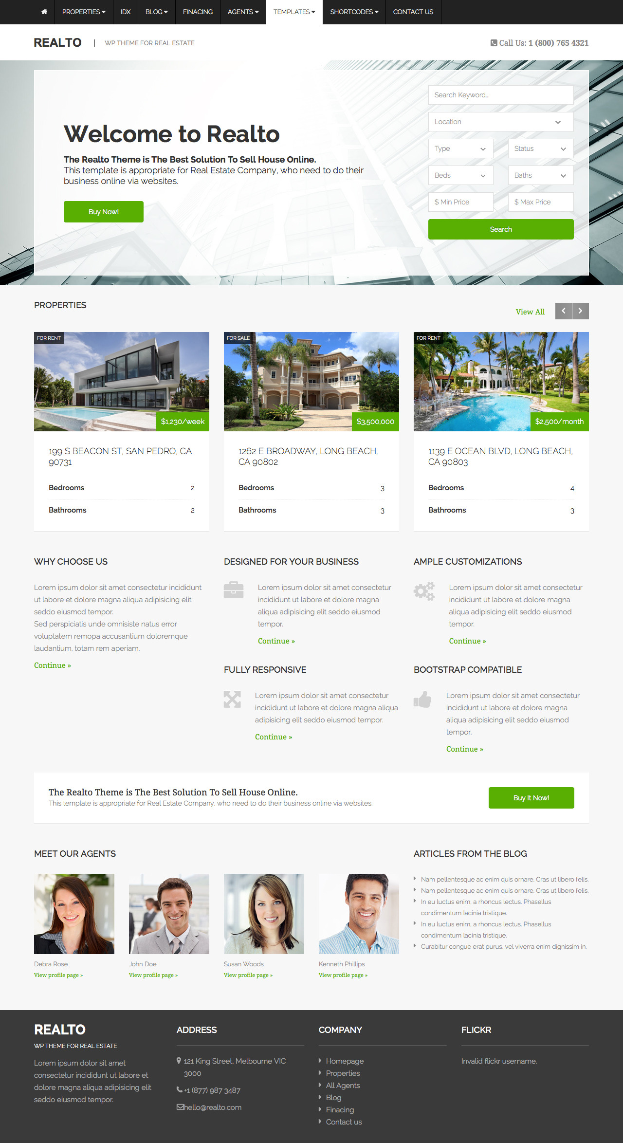 Realto - WordPress Theme for Real Estate Companies