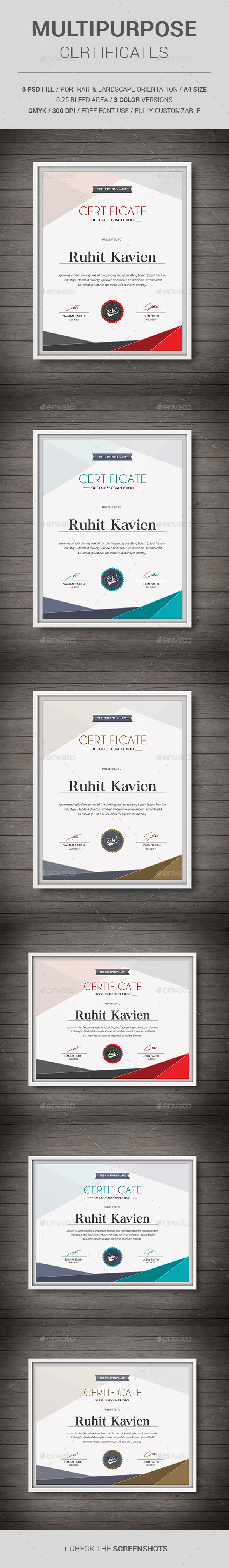 GraphicRiver Multipurpose Certificates 11513450