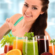 Young woman with variety of vegetable and fruit juices - PhotoDune Item for Sale