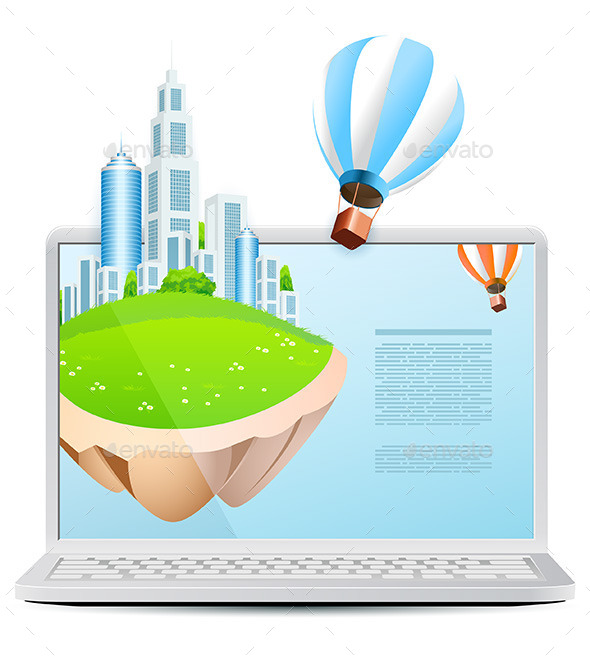 GraphicRiver Laptop with Flying Island and Hot Air Balloon 11513709