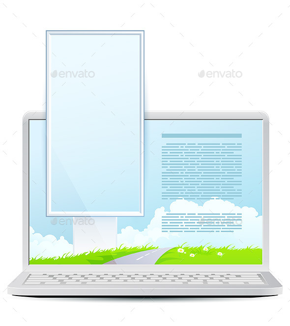 GraphicRiver Laptop with Green Landscape and Vertical Billboard 11513720