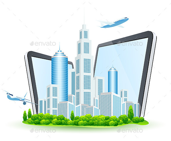 GraphicRiver Business City with Two Tablet Computers 11513736