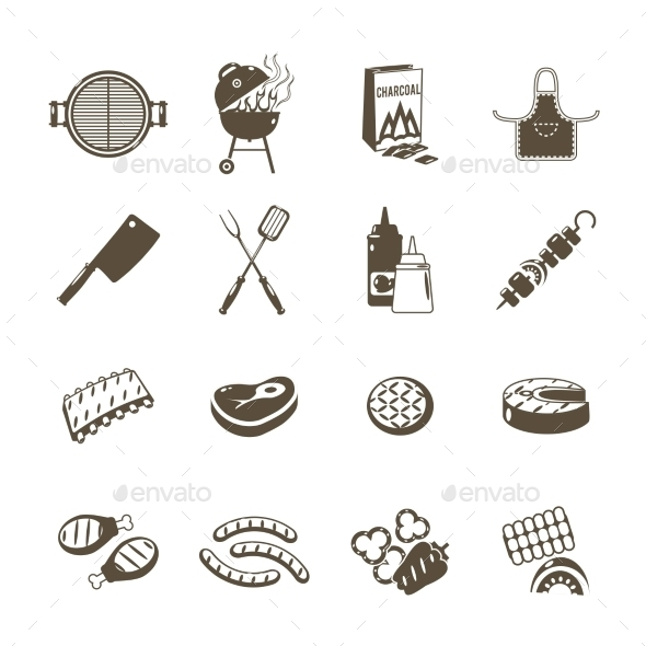 GraphicRiver Barbecue and Grill Icons Black Set 11513750