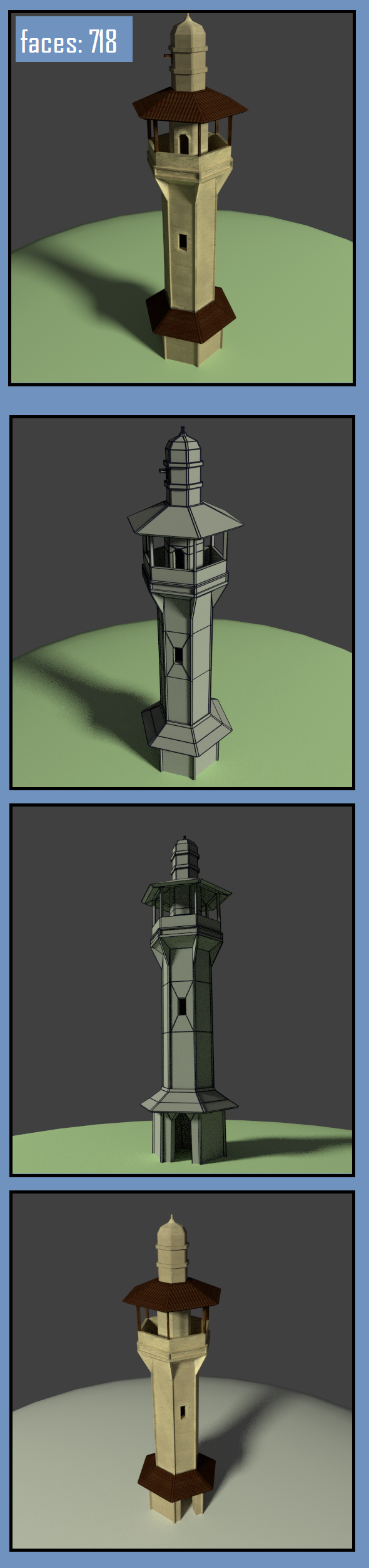 3DOcean arab moorish minaret low poly building model 11513811