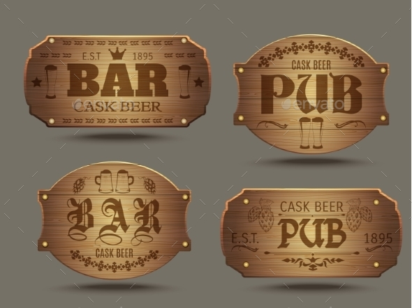 GraphicRiver Wooden Pub Bar Signs Set 11513864