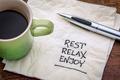 rest, relax, enjoy on napkin - PhotoDune Item for Sale