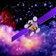 artificial satellite against nebula's background - PhotoDune Item for Sale