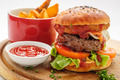Hamburger witn french fries and ketchup sause - PhotoDune Item for Sale