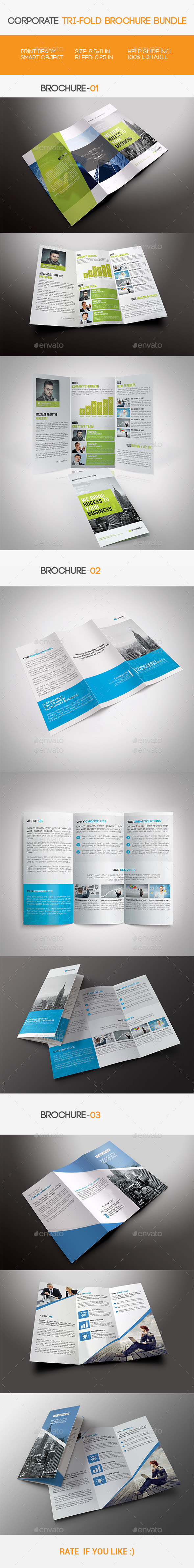 GraphicRiver Corporate Tri-fold Brochure Bundle 11515532