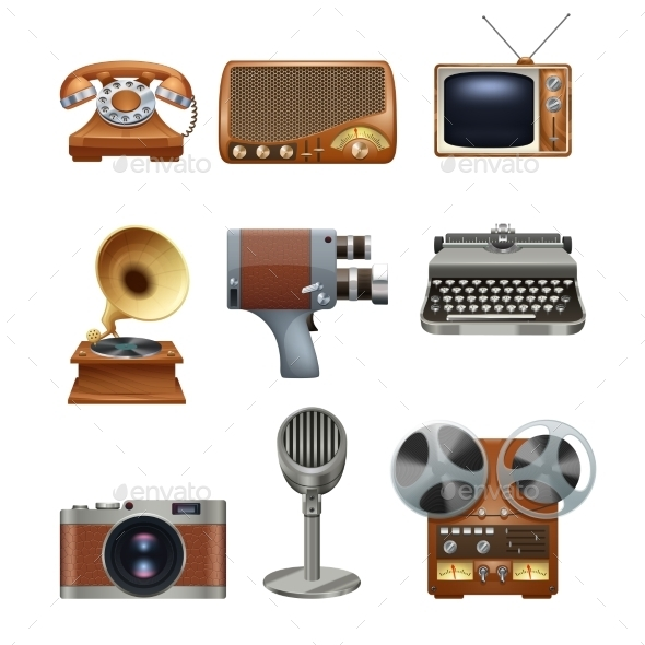 GraphicRiver Retro Vintage Devices Pictograms Set 11515738