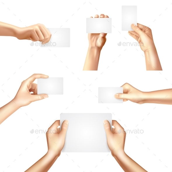 GraphicRiver Hands Holding Blank Cards Poster 11515751
